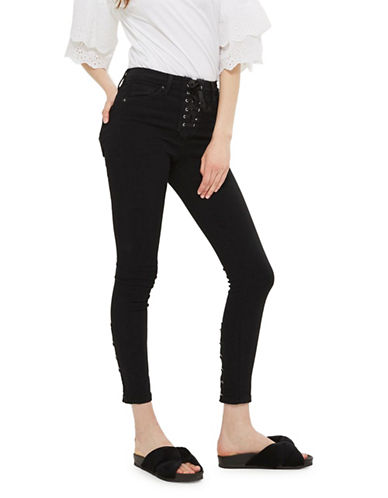 Topshop PETITE MOTO Jamie Lace-Up Fly Jeans-BLACK-26X28