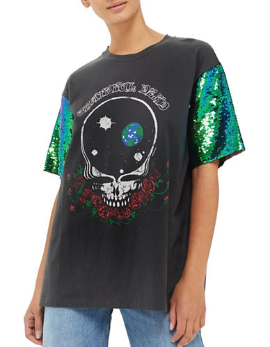 Topshop Grateful Dead Sequin Tee by And Finally-MULTI-UK 8/US 4