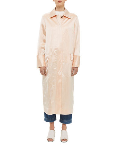 Topshop Linen-Blend Duster Coat-PEACH-UK 10/US 6
