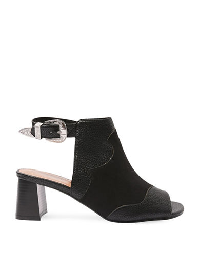 Topshop Drew Western Heeled Sandals-BLACK-EU 35/US 4.5