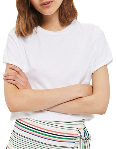 Topshop Roll Crop T-Shirt-WHITE-UK 14/US 10