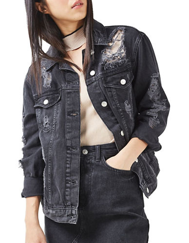 Topshop MOTO Extreme Rip Denim Jacket-WASHED BLACK-UK 12/US 8