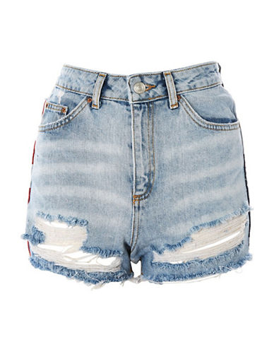 Topshop MOTO Flag Splice Shorts-BLUE-UK 12/US 8