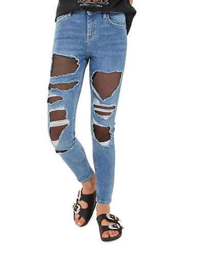Topshop MOTO Fishnet Jamie Jeans 30-Inch Leg-BLUE-30X30