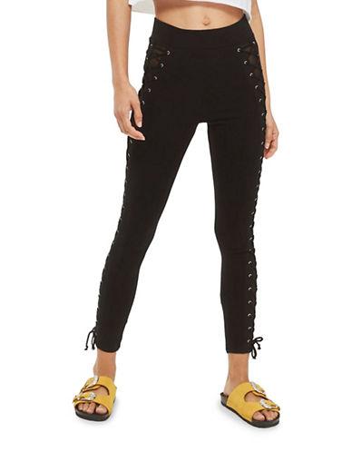 Topshop PETITE Lace-Up Leggings-BLACK-UK 8/US 4