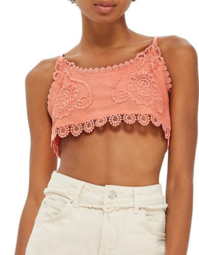 Topshop PETITE Crochet Ribbed Bralette-CORAL-UK 4/US 0
