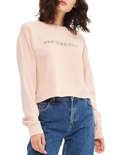 Topshop PETITE NYC Embroidered Sweatshirt-PINK-UK 6/US 2