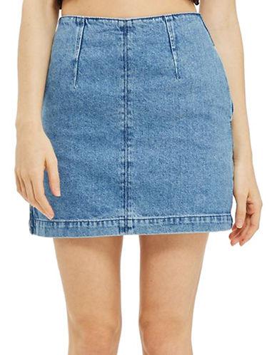 Topshop MOTO Denim A-Line Mini Skirt-BLUE-UK 6/US 2