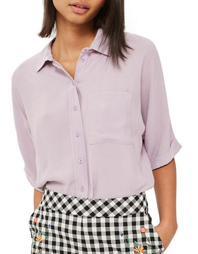 Topshop Kady Short-Sleeved Shirt-LILAC-UK 12/US 8