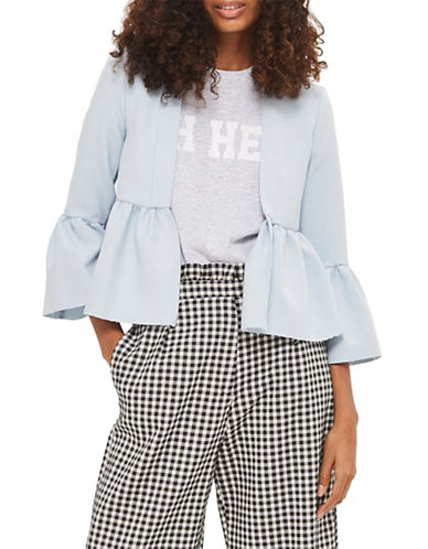 Topshop Bella Cropped Frill Jacket-LIGHT BLUE-UK 8/US 4