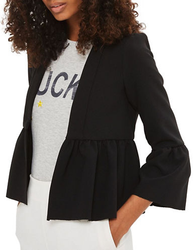Topshop Crop Frill Detail Jacket-BLACK-UK 6/US 2