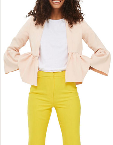 Topshop Bella Cropped Jacket-NUDE-UK 6/US 2
