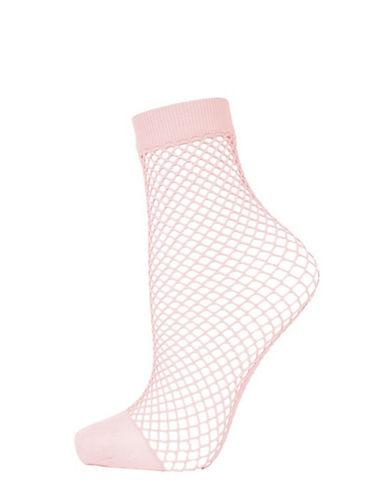 Topshop Fishnet Ankle Socks-PINK-1