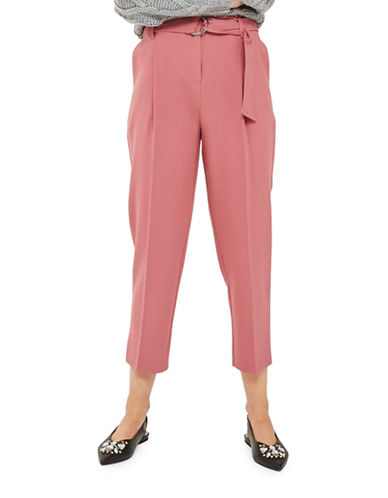 Topshop Paperwaist Peg Trousers-DARK PINK-UK 12/US 8