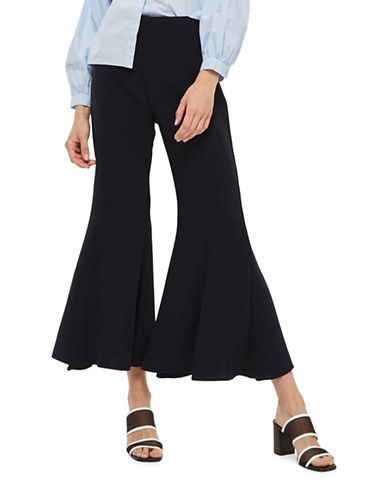 Topshop Clean Panel Crop Flare Trousers-NAVY BLUE-UK 12/US 8