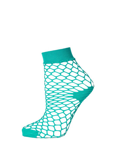 Topshop Fishnet Ankle Socks-TEAL-1