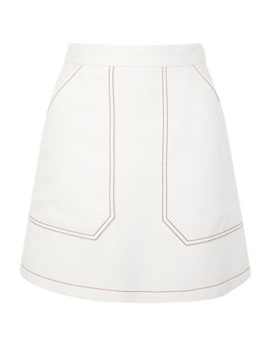 Topshop Contrast Seam A-Line Skirt-IVORY-UK 12/US 8
