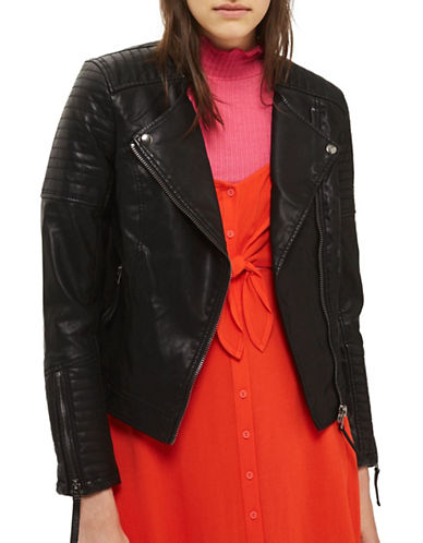 Topshop Luna Quilted Faux Leather Biker Jacket-BLACK-UK 12/US 8