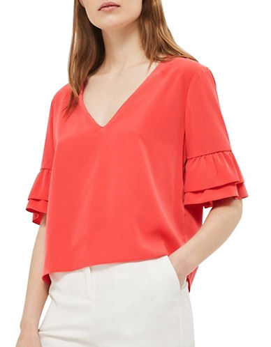 Topshop Ruffle Sleeve T-Shirt-RED-UK 14/US 10