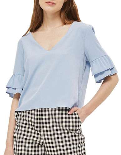 Topshop Ruffle Sleeve T-Shirt-LIGHT BLUE-UK 10/US 6