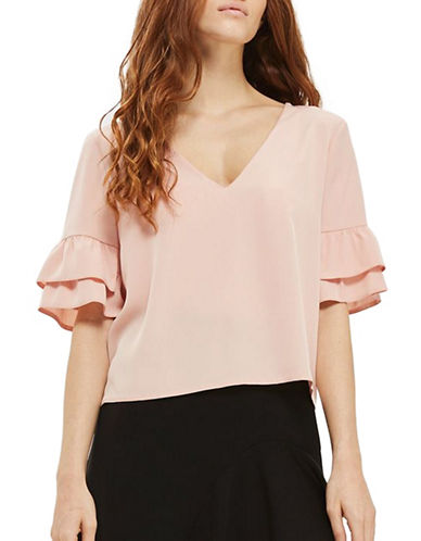 Topshop Ruffle Sleeve Blouse-BLUSH-UK 10/US 6