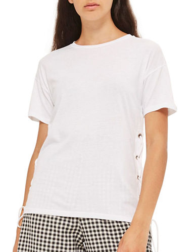 Topshop Side Lace Up T-Shirt-WHITE-UK 12/US 8