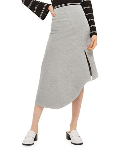 Topshop Asymmetric Split Jersey Midi Skirt-GREY MARL-UK 12/US 8