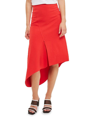 Topshop Asymmetric Split Jersey Midi Skirt-RED-UK 8/US 4