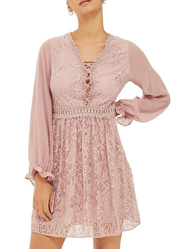 Topshop Eyelet Detail Lace Mini Dress-DUSTY PINK-UK 12/US 8