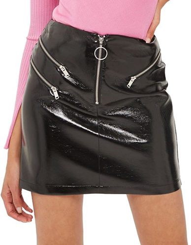 Topshop Vinyl Zip Pelmet Skirt-BLACK-UK 6/US 2
