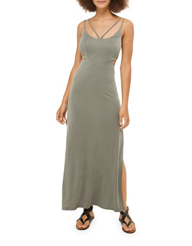 Topshop Cut-Out Side Slip Dress-KHAKI-UK 8/US 4