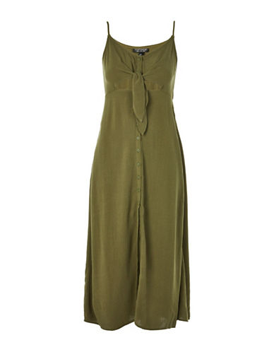 Topshop Molly Midi Dress-KHAKI-UK 14/US 10