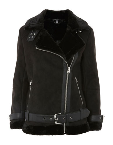 Topshop PETITE Cooper Faux Shearling Biker Jacket-BLACK-UK 8/US 4
