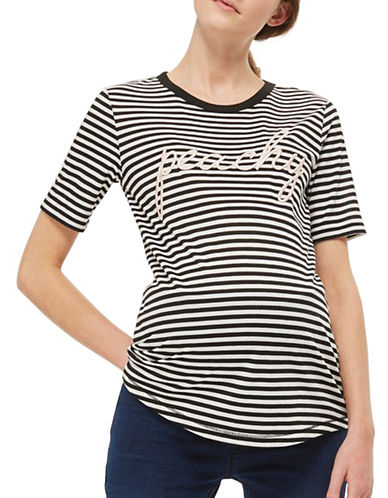 Topshop MATERNITY Peachy Stripe T-Shirt-MONOCHROME-UK 12/US 8