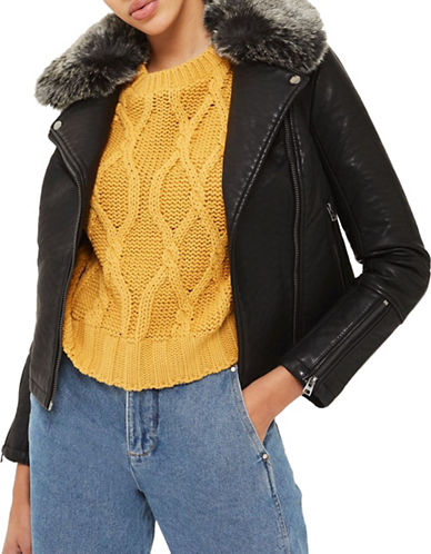 Topshop Faux Fur Collar Biker Jacket-BLACK-UK 6/US 2