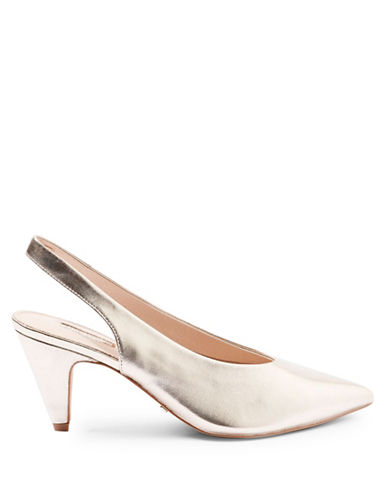 Topshop Jetset Leather Pumps-GOLD-EU 37/US 6.5