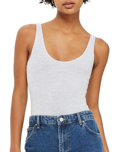 Topshop Stretch Cotton Bodysuit-LIGHT GREY-UK 14/US 10