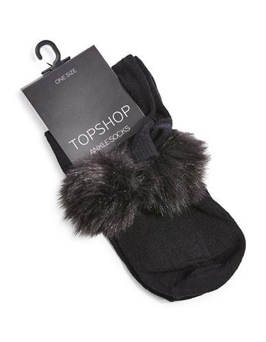 Topshop Pom Pom Cropped Ankle Socks-BLACK-One Size