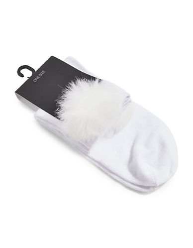 Topshop Pom Pom Cropped Ankle Socks-WHITE-One Size