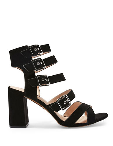 Topshop NOVA Multi Buckle Sandals-BLACK-EU 36/US 5.5