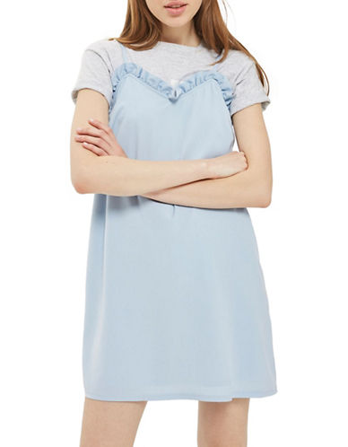Topshop Frill Slip Dress-LIGHT BLUE-UK 10/US 6