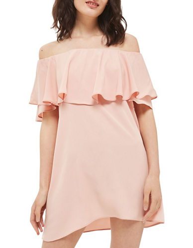 Topshop Dip Hem Bardot Dress-NUDE-UK 10/US 6