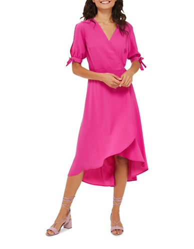 Topshop Emma Tie-Sleeve Wrap Dress-BRIGHT PINK-UK 6/US 2