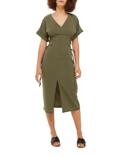 Topshop Corset Side Midi Dress-KHAKI-UK 6/US 2