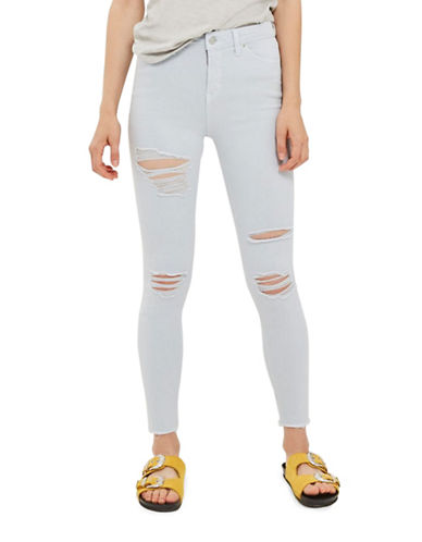 Topshop MOTO Super Rip Jamie Jeans 30-Inch Leg-LIGHT BLUE-28X30