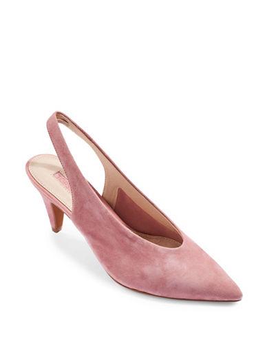Topshop JETSET V-Cut Suede Slingback Heels-PINK-EU 40/US 9.5