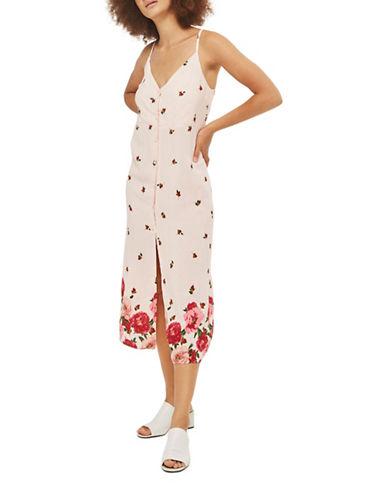Topshop Floral Border Slip Dress-NUDE-UK 8/US 4