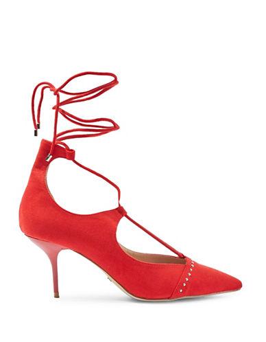 Topshop Janey Tie Up Mid Shoe-RED-EU 36/US 5.5