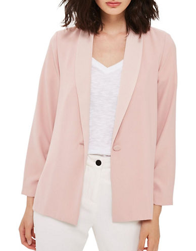Topshop Ruched-Sleeved Blazer-BLUSH-UK 6/US 2
