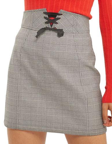 Topshop Glen Plaid Corset Lace-Up Skirt-MONOCHROME-UK 12/US 8
